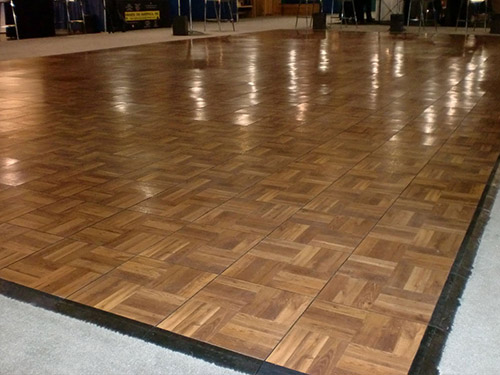 Outdoor dance floor wood grain