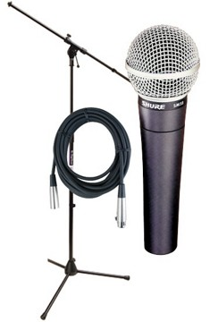 PA system microphone with stand
